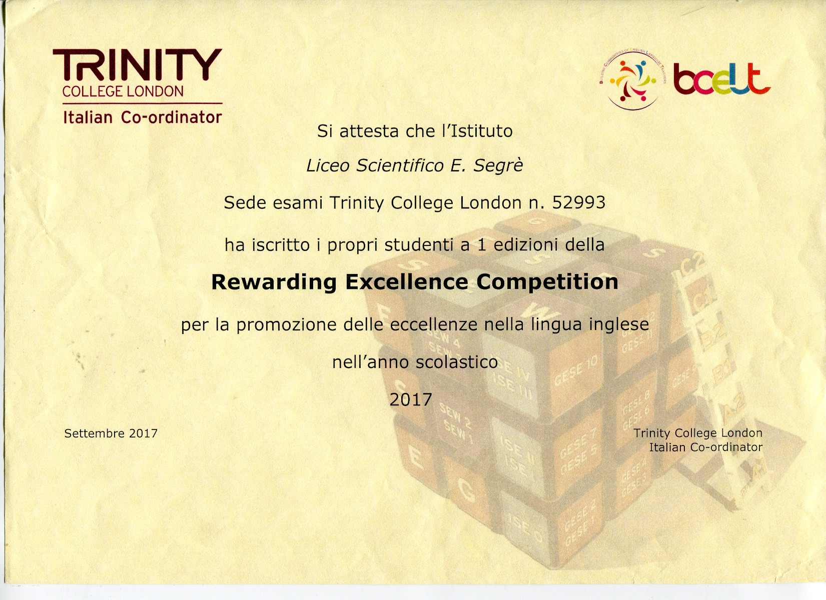 Rewarding Excellence Competition Trinity